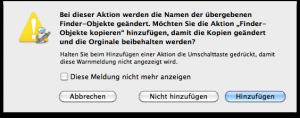 Meldung für löschen oder wiederherstellen der Daten Automator Apple
