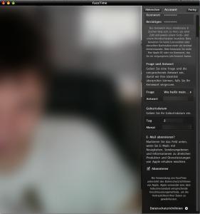 Einstellungen für Facetime Beta unter Apple Mac Os X Leopard und Snow Leopard