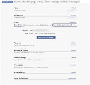 Apple iPhone Facebook APP - Einstellungen Emailadresse