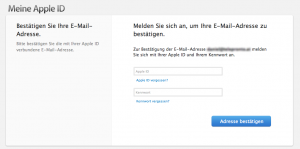 Apple ID anmelden - Facetime email validieren