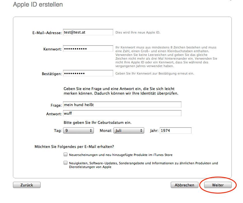Informationen über Apple Account angeben