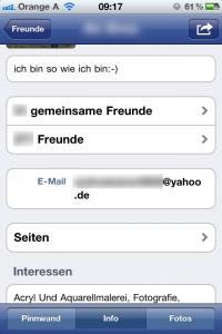iPhone 4 - Facebook App Emailadresse sehr leicht sichtbar