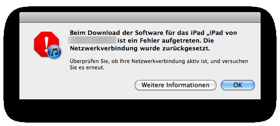 Apple Aktualisierung iPad Warnmeldung