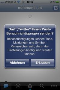 Push verifizierung für Twitter Apple News Österreich