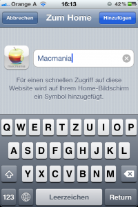 Homescreen hinzufüge Mac Mania Apple Mac iPhone iPad