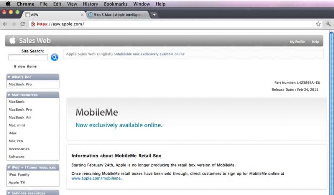 Apple News Österreich Mac Schweiz MobileMe Offline