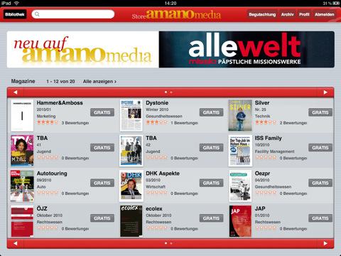 Amano Media Apple iPad App Store Zeitschriften