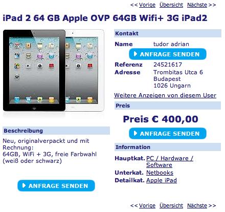 Apple News Österreich Mac Speicher iPad 2 verkaufen Fake willhaben