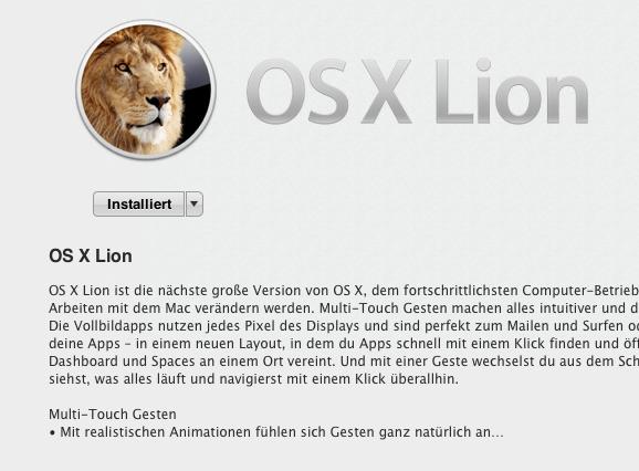 Os  X Lion herunterladen Mac App Store Apple News Österreich