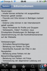 Apple News, Österreich Facebook App iPhone 3.5 Facebook chat