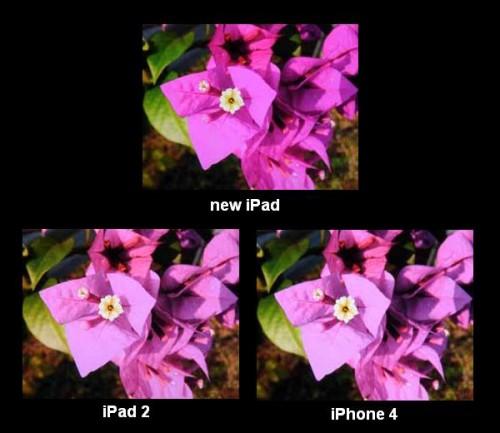 Apple iPad 3 Display vergleich mit iPad 2 und iPhone 4