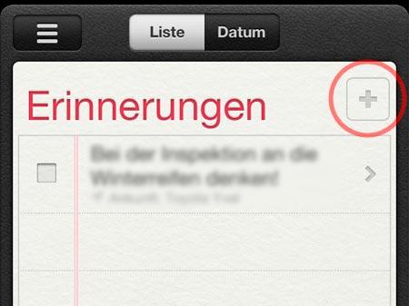 erinnerung App fehlende Add funktion, Plus fehlt