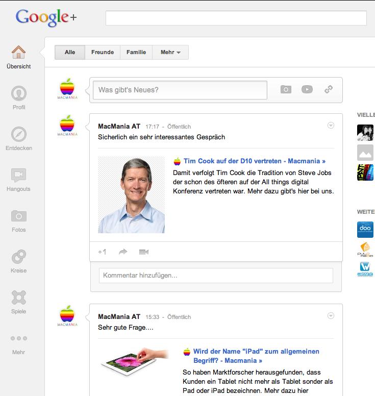 Google Plus mit neuem Design
