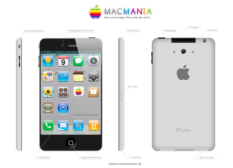 Apple News iPhone5, iPhone 6 Mock Up, Designentwurf Mac News Schweiz