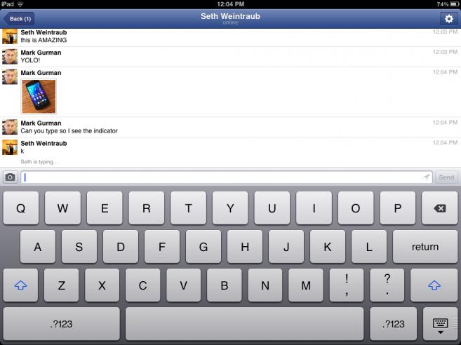 Facebook Messenger auf dem iPad