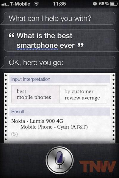 Siri gibt Lumia900 als bestes Smartphone an