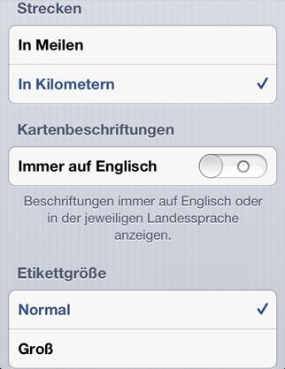Neue Einstellungen für die neue Maps App von iOS 6