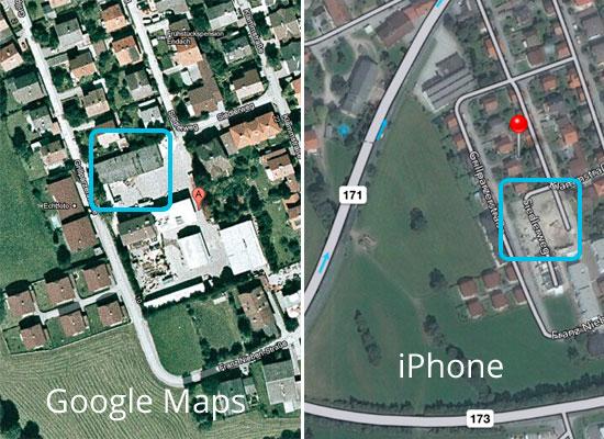 Vergleich Google und iPhone Maps