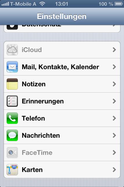iOS-Einschränkungen: iCloud kann deaktiviert sein