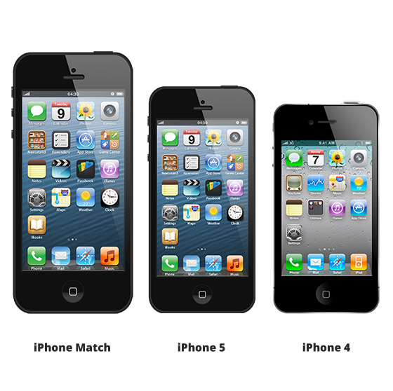 iphone 4 8 zoll im vergleich mit iphone 5. Black Bedroom Furniture Sets. Home Design Ideas