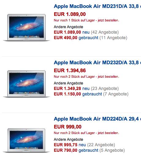 Liefersituation von MacBook Air verschlechtert sich