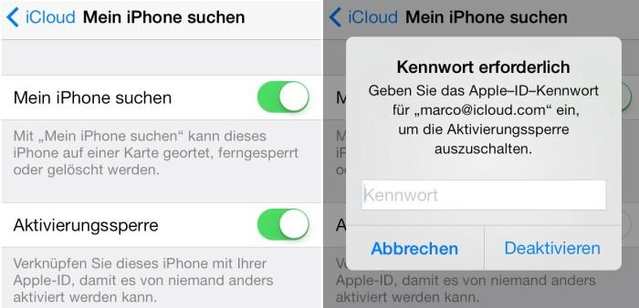 iOS 7: Aktivierungssperre bringt besseren Diebstahlschutz