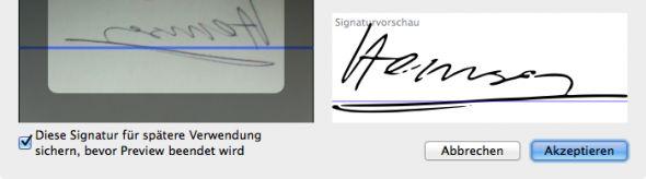 Vorschau Unterschrift