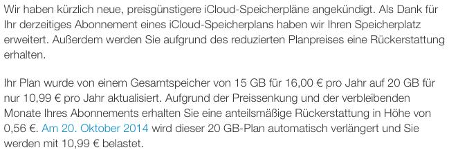 iCloud Speicher