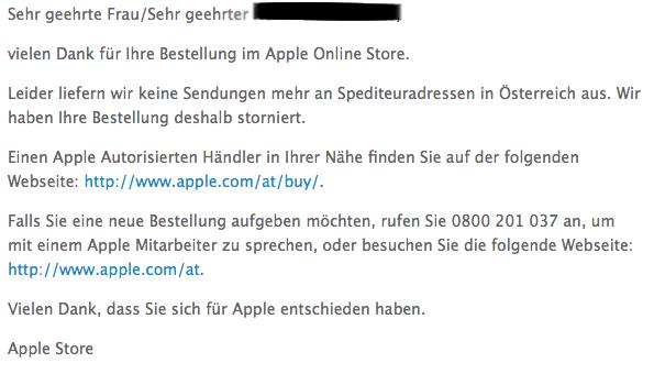 Apple Stornierung