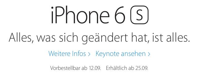 iPhone 6S Vorbestellung